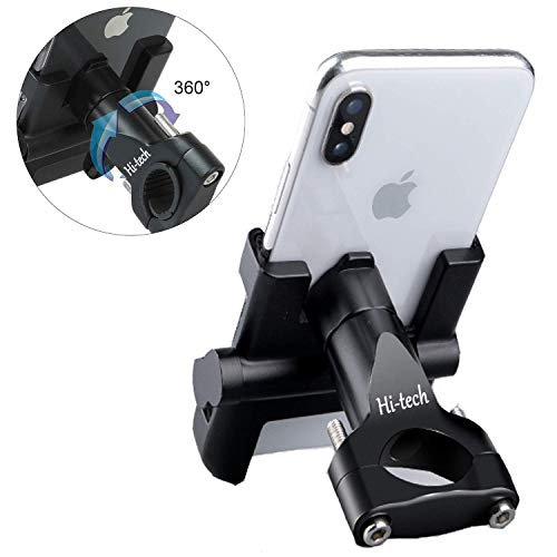 Hi-Tech Support Téléphone Smartphone Vélo Moto, Support Guidon Smartphone GPS Réglable en Alliage d'aluminium +Tapis en Silicone pour iPhone/Samsung/Huawei avec Rotation à 360 Degrés