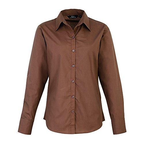 Premier Womens poplin long sleeve blouse Mocha