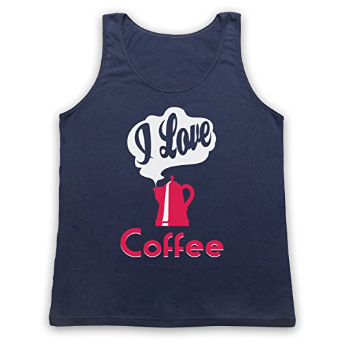 I Love Coffee Slogan Tank-Top Weste Ultramarinblau