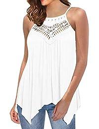 QinMM Blusa de Encaje Hueco de Mujer, Camisa Holgada Sin Tirantes Camiseta