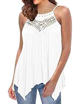 dba41c31153c [Patrocinado]QinMM Blusa de Encaje Hueco de Mujer, Camisa Holgada Sin  Tirantes Camiseta