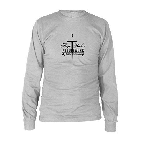 5 Staffel Arya Kostüm - GoT: Needlework - Herren Langarm T-Shirt, Größe: XXL, Farbe: weiß