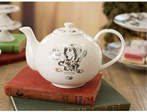 V/&A Alice in Wonderland Teapot in Gift Box White 6 Cup 1.1 Litre Fine China