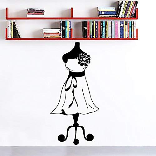 yiyitop Wandtattoos Kleid Mädchen Wandkunst Wanddekor Schaufensterpuppe Näherin Mode Wandaufkleber Schneiderei Tuch Stehen Wandtattoo 57 * 119 cm -