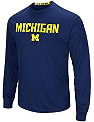 "Michigan Wolverines NCAA ""Power Set"" Men's Long Sleeve Performance T-shirt Chemise"