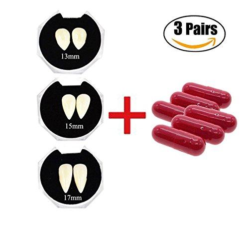Vampirzähne und Kunstblut Kapseln Halloween Vampir (Zahnersatz Kostüme)