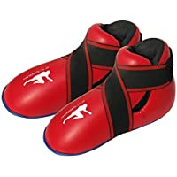 Botas Rojas Almohadilladas de Kickboxing y Semi / Full Contact - Para Niños y Jóvenes - Rojo, Pequeña / 6-9 años