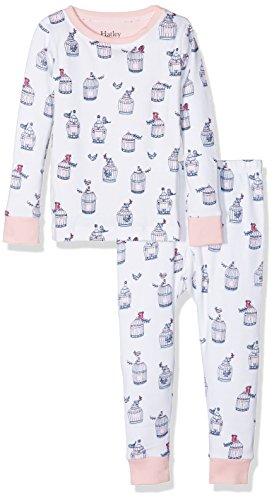 Hatley Mädchen Zweiteiliger Schlafanzug Organic Cotton Long Sleeve Printed Pyjama Sets, White (Free Birds), 4 Jahre (Print Pyjama Set Bund Elastischer)