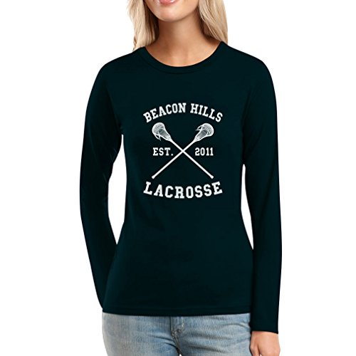 Teen Beacon Hills Lacrosse Wolf Damen Langarm-Schwarz Medium T-Shirt