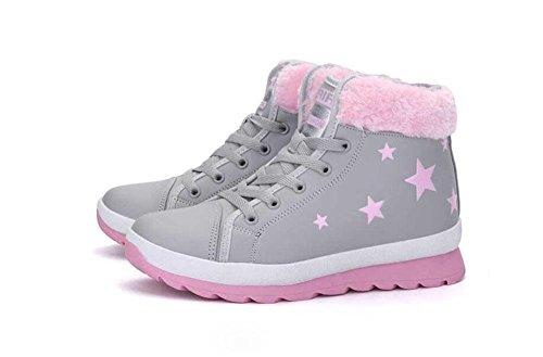 KUKI Stivali da donna, scarpe da donna, tubo corto, scarponi da neve, flat, pizzo, più cashmere, scarpe di cotone, stile britannico, stivali Martin gray