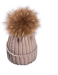 fd8462cece6766 Avanon Damen Strickmütze Bommelmütze Wintermütze mit Echt Große Waschbär  Mützen Pelzmütze Pompon Beanie Hüte