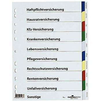 Hartfolie 10 Bl. A4 blanko Durable Versicherungsregister