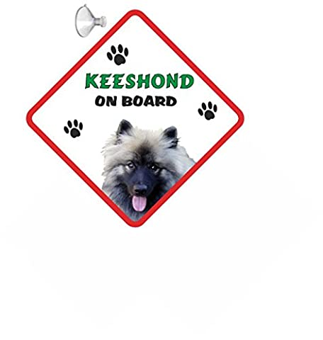 Keeshond DOG HANGING CAR SIGN with Rubber Sucker 154