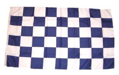 Flagge Fahne Karo blau / weiß 90 x 150 cm FLAGGENMAE®