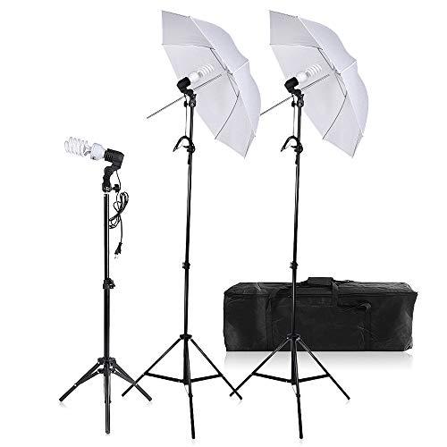 Andoer Studio kontinuierliche Fotografie/Video Dreifach Beleuchtung - --- Set --- Kit Hintergrund-Hintergrund Schwarz & Weiß mit Halterung + Leuchtmittel mit Grundlagen + Diffusor Durschmesser 60 cm + Taschen + anderem für Studie (sich in der Liste des Paket) - --- Kit f Set C -