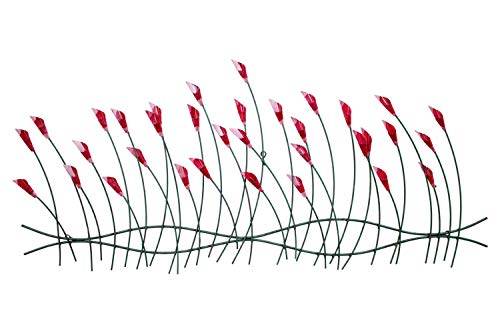 Moderne Blüte (KunstLoft Extravagante Metall Wandskulptur 'Verspielte Blumen' 56x124x6cm | Design Wanddeko XXL handgefertigt Metallbild Wandrelief | Blumen Floral Blüten in Rot & Grün | Wandbild modern)
