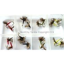 Pesca de la trucha COMPARANDUN para moscas secas 16unidades + free Fly caja Pack # 311,