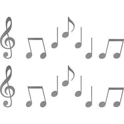 Emmala 2set sticker clef treble clef 10cm partitura tatuaggio per unico auto porta finestra deco foil (giallo) (color : silber, size : size)
