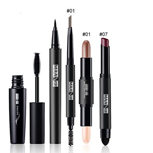 FantasyDay® 5Pcs Palette de Maquillage Kit de Maquillage Set de Maquillage Fêtes Cosmetic Kit Ombre à Paupières Comprenant Mascara, Eyeliner, Crayon à Sourcils, Rouge à Lèvres et Correcteur Stick #1
