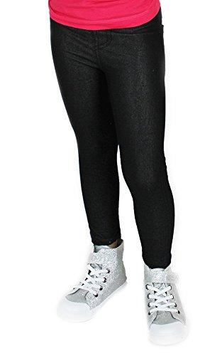 Leggings Mädchen Jeansoptik Jeggings Kinder Leggins Sommer Leggings Hose  lang (104 110, Schwarz b6d61efc7c