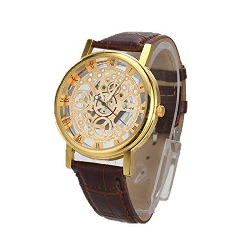 Sonnena Herren Armbanduhren, Luxuriös Männer Business Mode Lederband Armbanduhren Kristall Analoge Quarz Uhr Herrenuhr Klassik Vintage Edelstahl Handgelenk Uhr Sportuhr (G)