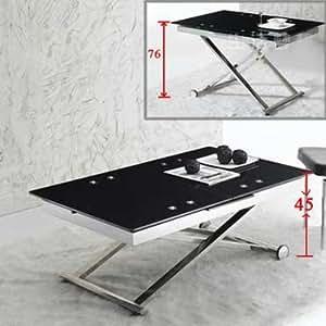 Table basse relevable avec rallonge noir