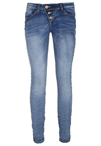 Rock Angel Skinny Fit Blue Jeans - 5-Pocket Denim Damen Röhrenjeans mit schräger Knopfleiste garantiert die perfekte Passfom middle-blue S