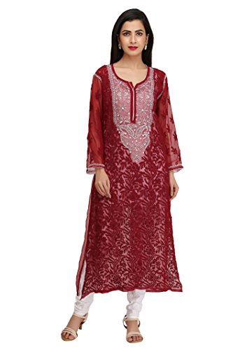 ADA Lucknow Chikankari Handcrafted Ethnic Wear Faux Georgette Kurti (A218664 Maroon)