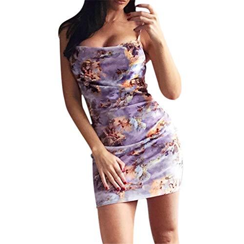 Oksea Damen Bodycon Träger Kleid Damen Bodycon Rückenfreies Kleid Damen Sleeveless Cupid Angle Print Bodycon Rückenfreie Beiläufige Mini Strap Slip Dress (Rot Cupid Kostüm)