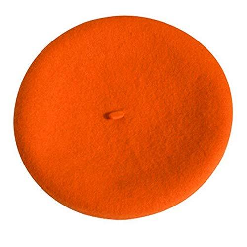 LYDIAMOON Frauen Winter Hut Baskenmütze Weiblich Wolle Baumwolle Mischung Kappe 14 Farbe Neue Frau Hüte Caps,Orange -
