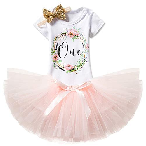 k Neugeborenen 3er Babys 1 Geburtstag Set/Outfits mit Romper + Tutu Kleid + Stirnband Größe 1 Jahre Rosa ()