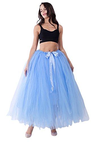 Honeystore Damen's Rock Tutu Tuturock Tütü Petticoat Tüllrock mit Gummizug für Karneval, Party und Hochzeit Himmelblau One (Bilder Kostüme Von Selbstgemacht Halloween)