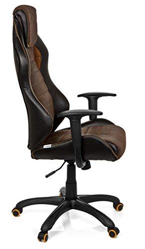 41c2QmOHmoL - hjh OFFICE 621880 RACER VINTAGE IV - Silla Gaming y oficina,  piel sintética marrón