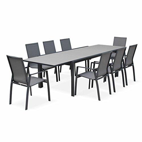 Alice's Garden - Salon de jardin table extensible - Washington Gris foncé - Table en aluminium 200/300cm, plateau en verre dépoli, rallonge et 8 fauteuils en textilène