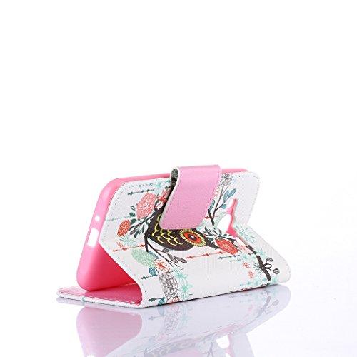 Qimmortal - Custodia a portafoglio in finta pelle, con pellicola proteggi schermo in vetro temperato, modello colorato, con funzione supporto, pieghevole magnetico, con porta carte di credito, per Sam Rose owl