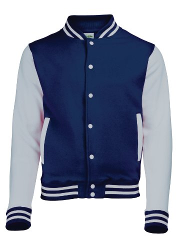 Just Hoods by AWDis Herren Jacke Varsity Jacket Blau - Oxford Navy / Heather Grey