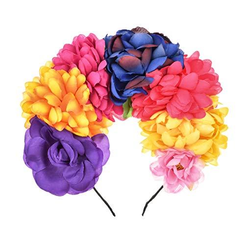 DDazzling Stirnband mit Blumenkrone, mexikanisch, Tag der Toten, Blumenkrone - Mehrfarbig - Einheitsgröße (Zwei Fridas Kostüm)
