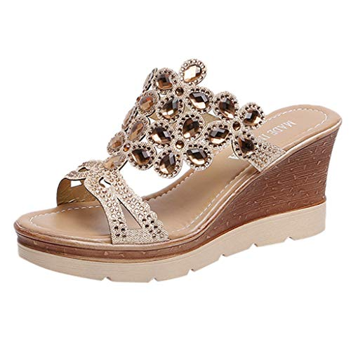 LILIHOT Frauen Sommer Sandalen Peep Toe Breathable Strand Strass Slip-On Wedges Schuhe Damen Pantoletten Flache Hausschuhe Plateau Keilabsatz Knöchel Ferien Römer Flip Flops Indigo Peep Toe Wedges