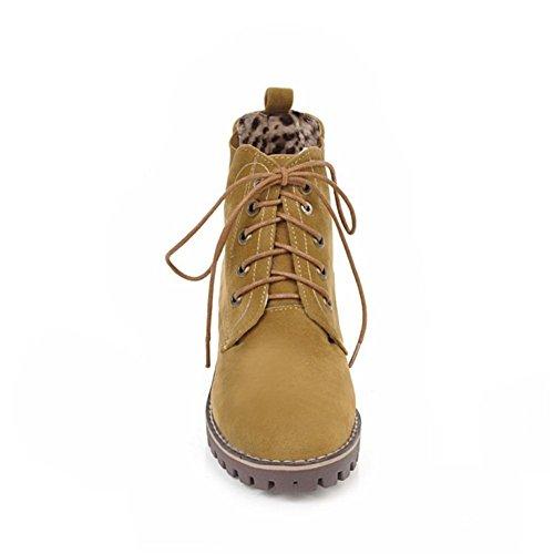 Donna Martin Boots pizzo macchia Heel Ruvido Testa rotonda Marrone Nero Autunno Inverno Lavoro partito Brown