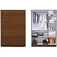Auspicious Home Easter Three Door Wardrobe in Teak Color (Wardrobe with 6 Shelf and One Large Hanger, Free Installation)