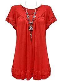 767e9ed0283 Urban Diva Vanilla Inc Womens Ladies Plus Size Frill Necklace Gypsy Ladies  Tunic Short Sleeve Long V Neck Tops (12…