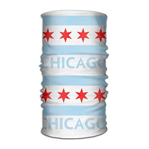 Chicago City Flag Multifunctional Magic Headwear 12-in-1 Men&Women Tube Scarf Facemask Headbands Neck Gaiter Bandana Balaclava Helmet for Outdoor Running Yoga Work Out