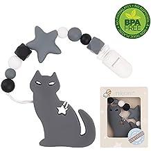 HU Dentición Clip de silicona Mordedor de gato con chupete Clip Set para bebés