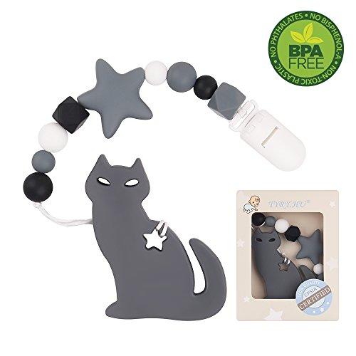 TYRY.HU Kinderkrankheiten Dummy Clip Silikon Katze Beißring mit Schnuller Clip Halter Set für Neugeborene BPA frei Dusche Geschenk Shoothing Schmerzlinderung handgemacht (Grau)