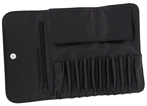 Leere Kosmetikpinsel Tasche Kosmetex f. 11 Pinsel m. Reißverschluß-Fach, Pinseletui, Pinseltasche schwarz, Kunstleder -