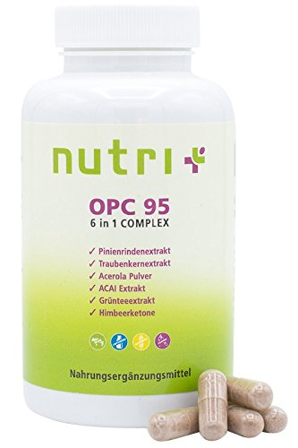 OPC mit natürlichem Vitamin C (Acerola-Frucht) - 120 vegane Kapseln - hochdosierter Pinienrindenextrakt - Traubenkernextrakt - ohne Zusatzstoffe (Vitamin Plus Acerola)