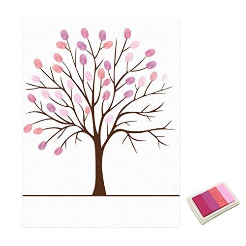 Noradtjcca Hochzeit Gästebuch Personalisierte Liebe Baum Hochzeitsgeschenke Fingerprint Malerei DIY Partydekorationen Mit Stempelkissen -