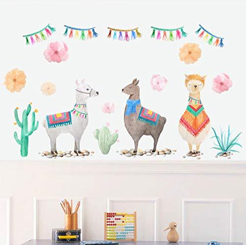 Xiaodan's shop Wandsticker Cartoon Stil Tiere DREI Schafe Wandaufkleber Handpaint Für Kinderzimmer Aufkleber Home Wandbild PVC Kunst DIY Tapete 46X80 cm (Schafe In Der Großen Stadt)