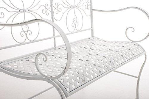 CLP 2er Garten-Bank ANNO V2 mit Armlehne, im Landhausstil, Metall Sitzbank (Eisen lackiert), grazile Form, stilvolle Verzierungen Antik-weiß - 4