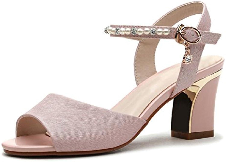 sandalias Sra gruesa corteza gruesa con sandalias de tacón alto de las sandalias de verano de mujeres y zapatillas...